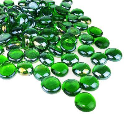 Green Flat Gemstone Bowl and Vase Fillers