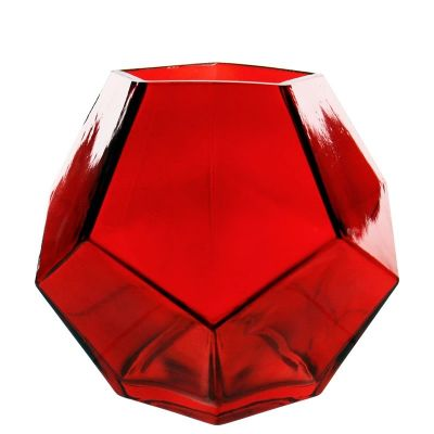 """6"""" Geometric Red Glass Vases Candle Holder"""