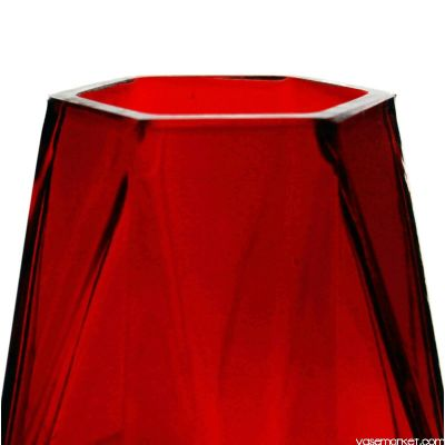 "8"" Geometric Red Glass Vases Candle Holder"