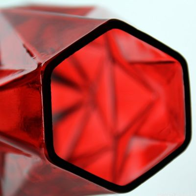 "10"" Geometric Red Glass Vases Candle Holder"