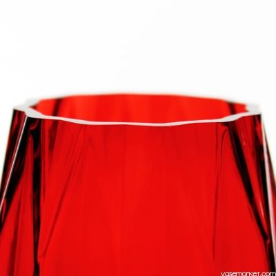 "12"" Geometric Red Glass Vases Candle Holder"