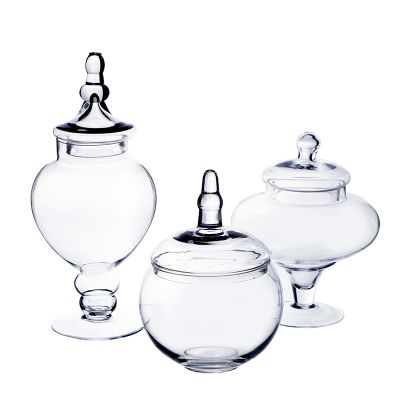 "Set of 3 Glass Apothecary Jars Candy Buffet Containers - H: 10"", 14.75"", 10"""