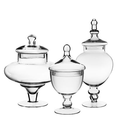 "Set of 3 Glass Apothecary Jars Candy Buffet Containers - H: 14.75"", 10"", 9.5"""
