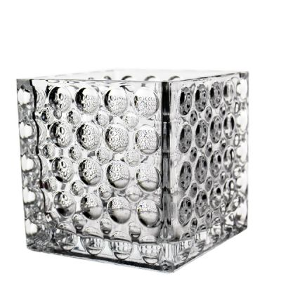 """6"""" Glass Cube Vase with Dimple Effect"""