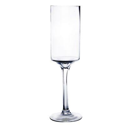 "20"" Contemporary Long Stem Glass Pillar Candle Holder"