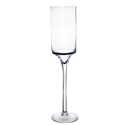 "24"" Contemporary Long Stem Glass Pillar Candle Holder"