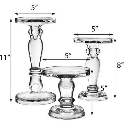 "H-8"", 8"", 11"", Bubble Glass Pillar, Taper Candle Holder, Set of 3 pcs"