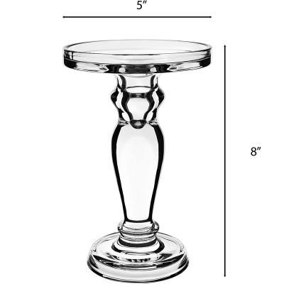 """8"""" Clear Glass Pillar, Taper Candle Holder"""