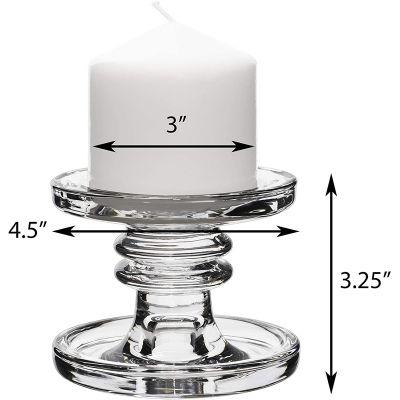 "Glass H-3.25"" Taper & Pillar Candlestick Classic Style"