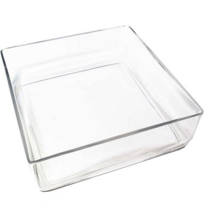 "4"" Square Glass Wedding Vase with 10""x10"" Opening"