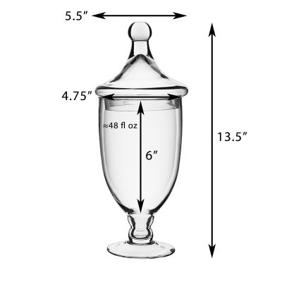 13.5 Inch Tall Clear Apothecary Jar Candy Buffet Container