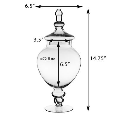 14.75 Inch Tall Clear Apothecary Jar Candy Buffet Container