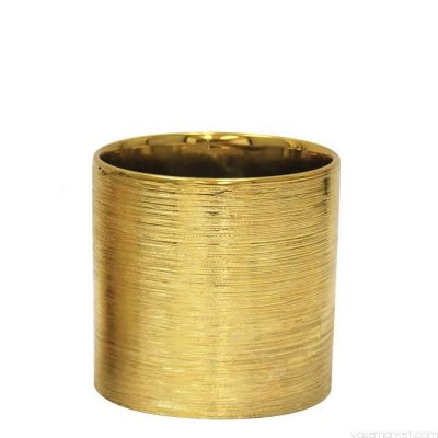 "Etched 6"" Gold Metallic Cylinder Pot"