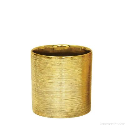 "Etched 5.25"" Gold Metallic Cylinder Pot"