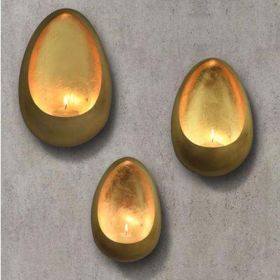 Gold Metal Illumination Wall Hanging Candle Holder, Set of 3 pcs