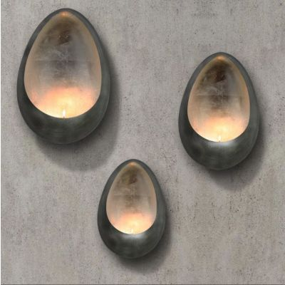Silver Metal Illumination Wall Hanging Candle Holder, Set of 3 pcs