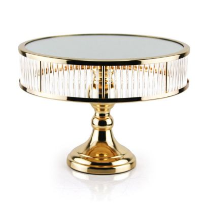 "Gold Chandelier Cake Stand, H- 7"" D- 12"""