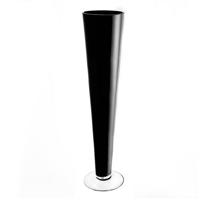 "20"" Black Glass Trumpet Centerpiece Vase"