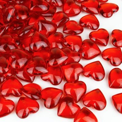 Acrylic Heart-Shaped Ruby Red Gemstone Vase Fillers