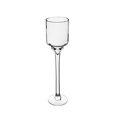 "16"" Elegant Long Stem Glass Candle Holder"