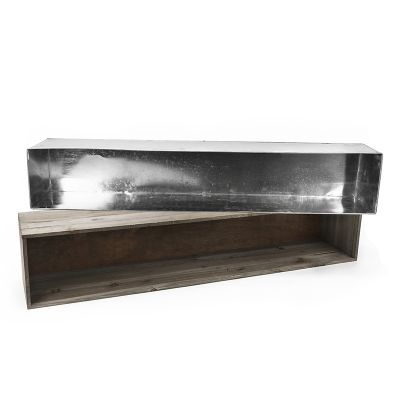 "8"" x 40"" x 8"" Natural Wood Rectangle Planter Box w/ Zinc Metal Liner"