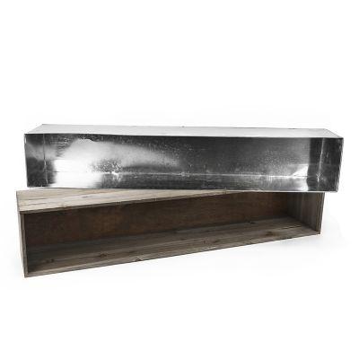"8"" x 40"" x 8"" Natural Wood Rectangle Planter Box w/ Zinc Metal Liner"