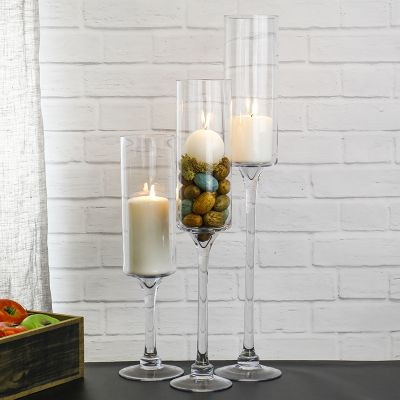 "12"" Elegant Long Stem Glass Candle Holder"
