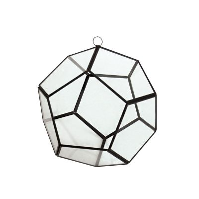 "6"" Hanging Hydroponic Glass Geometric Dodecahedron Terrarium Candle Holders"