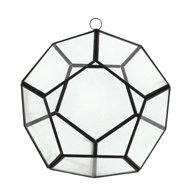 "8"" Hanging Hydroponic Glass Geometric Dodecahedron Terrarium Candle Holders"