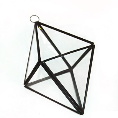 "8"" Hanging Hydroponic Glass Geometric Diamond Terrarium Candle Holders"