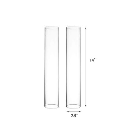 "H-14"", D-2.5"" Glass Hurricane Candle Shade Chimney Tube"