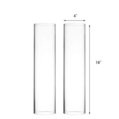 "H-18"", D-4"" Open-Ended Glass Hurricane Candle Shade Chimney Tube"