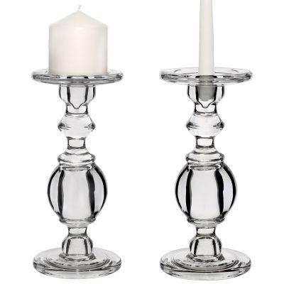 "9.5"" Baluster Stem Glass Taper & Pillar Candlestick Candle Holders"