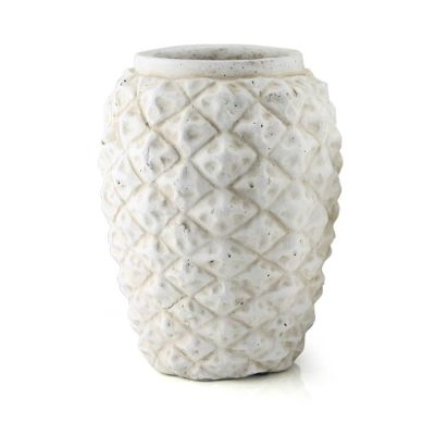 "White Pineapple Vase. H-12"", D-9.25"" (Free Shipping)"