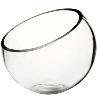 "9"" Slant Cut Asymmetrical Glass Bowl Vase Plant Terrarium Pod"