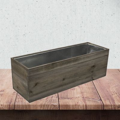 "8"" x 24"" x 8"" Rectangle Natural Wood Planter Box w/ Zinc Metal Liner"