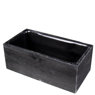 "4"" x 10"" x 5"" Black Rectangle Wood Box Planter with Plastic Insert Liner"