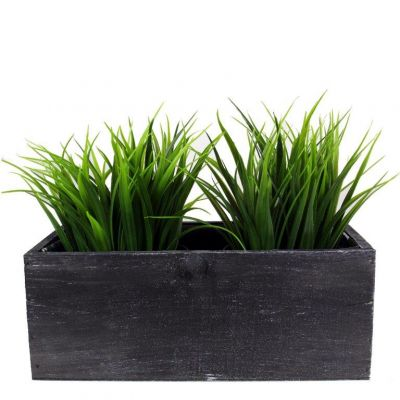 "4"" x 10"" x 5"" Black Rectangle Wood Box Planter with Plastic Liner (Free Shipping)"