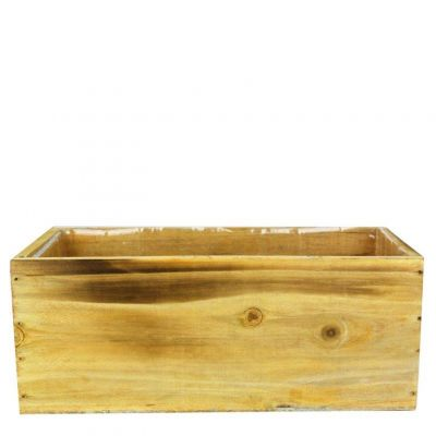 "4"" x 10"" x 5"" Unfinished Rectangle Wood Box Planter with Plastic Insert Liner"