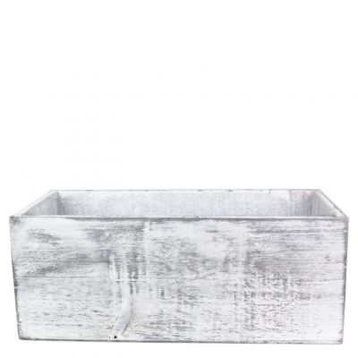 "4"" x 10"" x 5"" White Rectangle Wood Box Planter with Plastic Insert Liner"