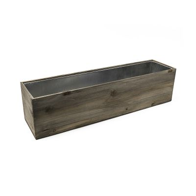 "8"" x 32"" x 8"" Natural Wood Rectangular Planter Box w/ Zinc Metal Liner"