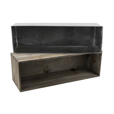 Wood Long Rectangular Planter Box w/ Zinc Liner Natural H-8