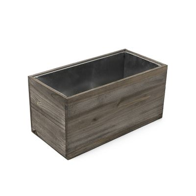 "8"" x 16"" x 8"" Natural Wood Rectangle Planter Box w/ Zinc Metal Liner"