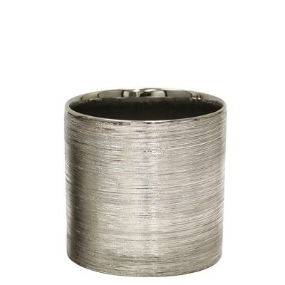 "Etched 6"" Silver Metallic Cylinder Pot"