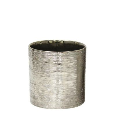 "Etched 5.25"" Silver Metallic Cylinder Pot"