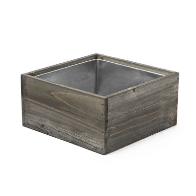 "4"" x 8"" x 8"" Square Natural Wood Planter Box w/ Zinc Metal Liner"