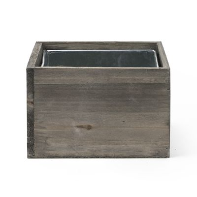 "4"" x 6"" x 6"" Square Natural Wood Planter Box w/ Zinc Metal Liner"