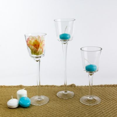 Modern Stemmed Glass Candle Holder