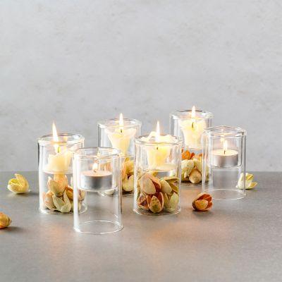 "3.75"" Glass Tealight Votive Candle Holder Bud Vase"