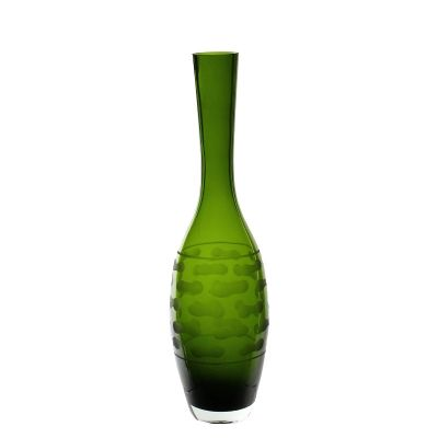 "13"" Decorative Olive Green Glass Vase"